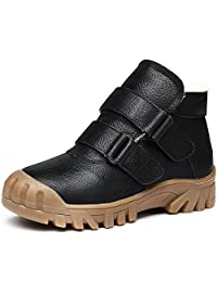 Vilocy Boy's Leather Fur Lined Snow Sneakers Slip On Ourdoor Anti-Skid Warm Boot Running Shoes(Toddler/Little Kid/Big Kid)
