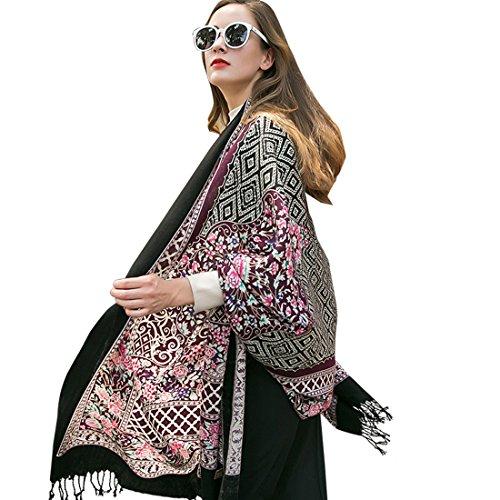 DANA XU 100% Pure Wool Women's Large Traditional Cultural Wear Pashmina Scarf (Purple)