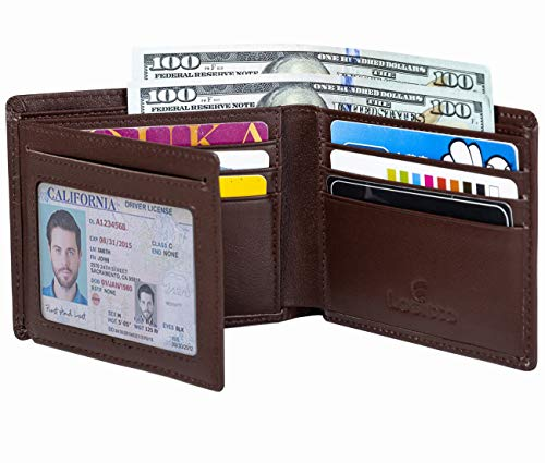 Men's Bifold Wallet - RFID Blocking Cowhide Leather Vintage Travel Wallet (Nappa Chocolate-Smooth Top Grain Leather)