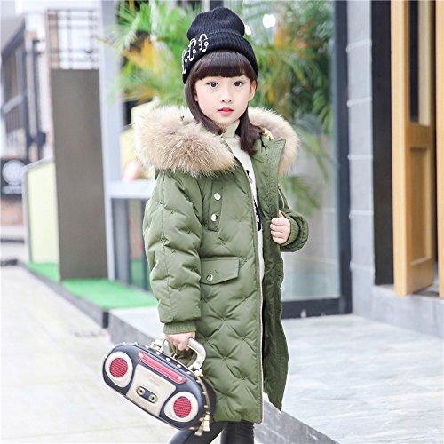 FDSAD Warme Jacke Im Freien Kinder Outdoor Warme Jacke Mädchen Lange Kinderkleidung Kinder Ausländische Mädchen Neuen Mantel Geeignet Für Höhe 160Cm Armee Grün