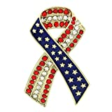 Breast Cancer Awareness Ribbon Brooch Star American USA Flag Pin 4th of July Veteran's Day Charm (Gld)