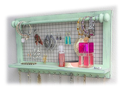 Shabby Chic Jewelry Organizer with Removable Bracelet Rod from SoCal Buttercup - Wooden Wall Mounted Holder for Earrings Necklaces Bracelets and other Accessories