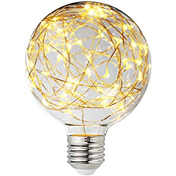 Judy Lighting - LED Globe Fairy Light Bulb for Ambient Night Lighting, E26 Standard Medium Base Edison with Starry Decorative String Lights for Bathroom, ...