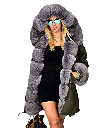 Roiii Women's Winter Thicken Faux Fur Hooded Plus Size Parka Jacket Coat Size S-3XL (3XL, Green G)