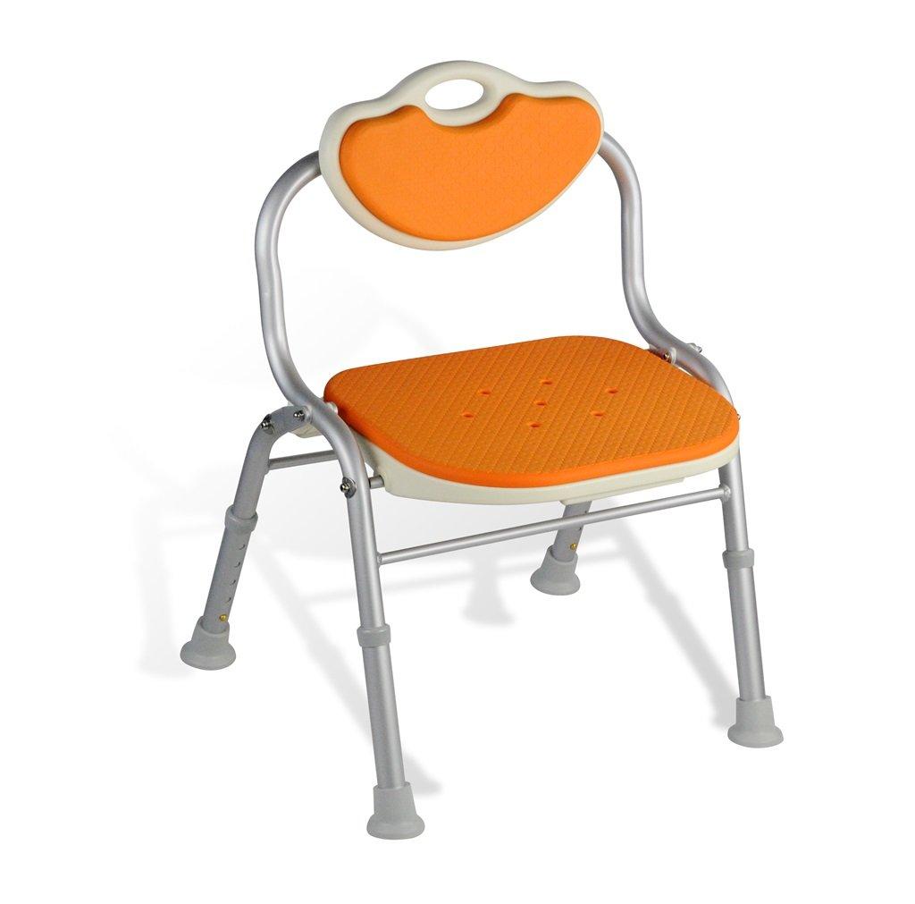 シャワー/バススツールアルミ合金シャワーシートチェア障害援助ノンスリップシャワーチェア背もたれを持つ高齢者/障害者/妊婦のための5つの高さで調整可能(オレンジ) B07FHLY4YH