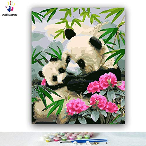 - Paint by Number Kits Canvas DIY Oil Painting for Kids, Students, Adults Beginner with Brushes and Acrylic Pigment -Panda Mother and Panda Baby in Bamboo Forest (5788, 20x24 no Frame)
