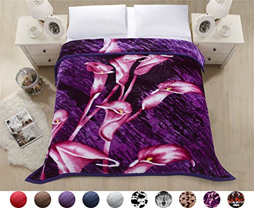 Superior Thick Warm Raschel Blanket,Double Layer Reversible Cozy,Silky,Fleece,Medium weighted Plush Blanket,Queen Size 79x87 inches,Sweet Calla Lily Printed,Hypoallergenic, Fade resistant(PURPLELILY) (Double Calla Lily)