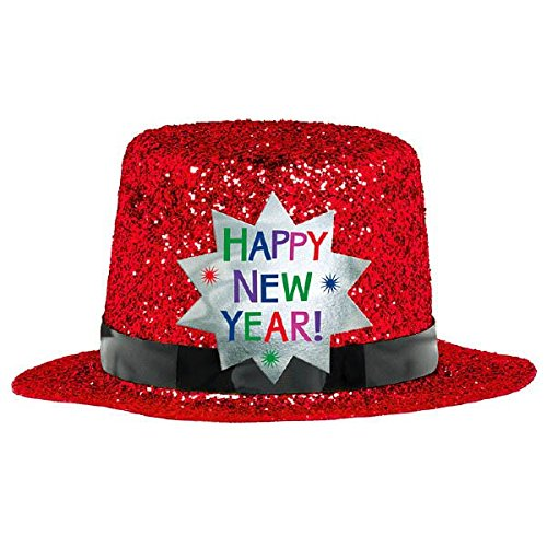 Red Glitter Mini Top Hat (Amscan Rocking New Year's Party Mini Glitter Top Hats Accessory, Red, 2