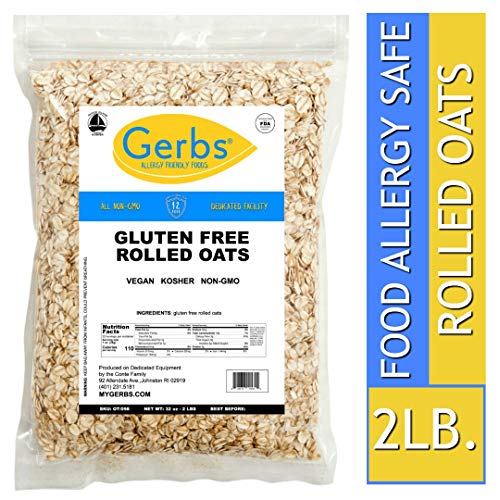 (Gerbs Gluten Free Rolled Oats - 2 LBS - Top 14 Allergen Free & NON GMO - Vegan, Keto Safe & Kosher - Grown in USA Dedicated Farm)