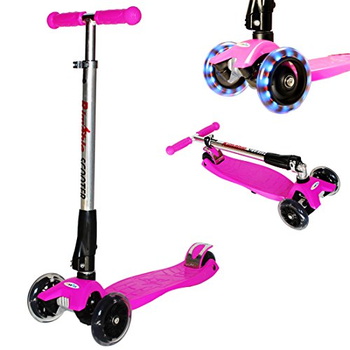 Rimable Foldable Maxi Kick Scooter with LED Light up Wheels(Pink)