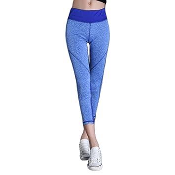 ef3dadfef7496 Yeshi Fashion Women's Yoga Pants Capris Tummy Control Elastic Slim Workout  Running Stretch Sports Leggings Trousers