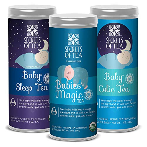 Secrets of Tea - Babies Colic, Babies Magic, & Babies Sleep Bundle - USDA Organic - All Natural Herbal Tea - Helps Relieve Acid Reflux, Bloating, and Crying for Better Sleep