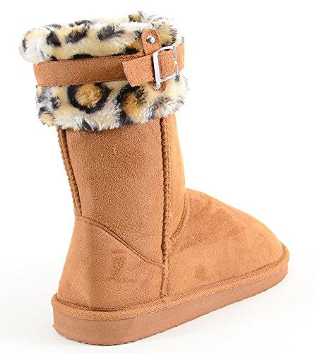 Leopard Cuff Furry Spenne Vegan Semsket Flate Varme Kvinners Støvler En Kamel
