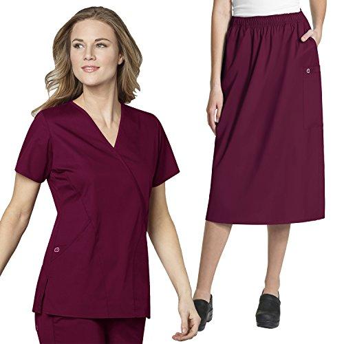 Wrap Skirt Set (WonderWork Mock Wrap Scrub Tops & Women's Pull-On Cargo Skirt set [XS - 5XL]+ FREE GIFT)