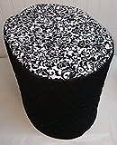 Black & White Floral Damask Food Processor Cover (Black, Large)