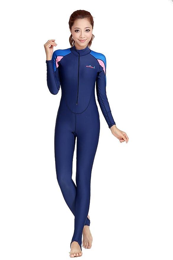 facfa75ee7d6e Yiruy Women Men Adults Long Sleeve Zipper Wetsuit Surfing Suits Diving Suit  Rash Guard  Amazon.co.uk  Sports   Outdoors