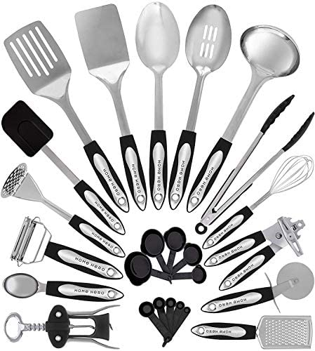 Home Hero Stainless Steel Kitchen Cooking Utensils - 25 Piece Utensil Set - Nonstick Kitchen Utensils Cookware Set with Spatula - Best Kitchen Gadgets Kitchen Tool Set