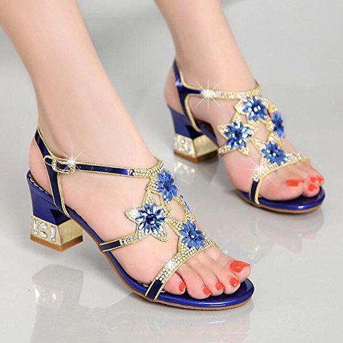 Sandalias tamaño Verano Cuero Noche Oro Zapatos Púrpura Gruesas de Club de de Zapatos Mujer de Moda Color Sandalias Azul Gruesas Diamantes Fiesta de Casual Azul 39 YRqYS8