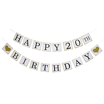 8311aec499d Happy 20th Birthday Banner - Gold Glitter Heart for 20 Years Birthday Party  Decoration Bunting White