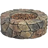 Best Choice Products Home Outdoor Patio Natural Stone Gas Fire Pit For  Backyard, Garden