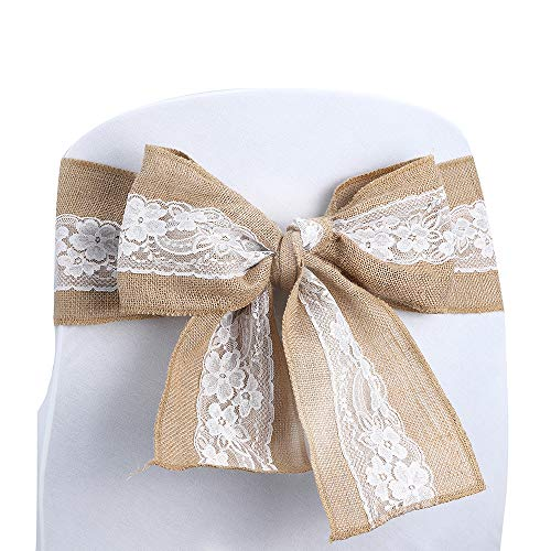 Kivvo 10pcs Burlap Chair Sashes Bands for Wedding Chair, Chair Covers Bow Back for Dining Chair, Chair Ribbons with Lace -