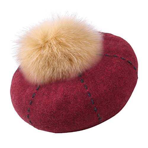 Home Prefer Womens Winter Wool Hat Faux Fur Pom French Beret Cap Wine Red