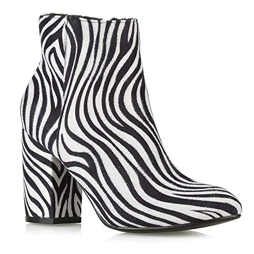 ESSEX GLAM Womens Casual Block Mid High Heel Smart Ankle Boots (8 B(M) US, Zebra Faux ()