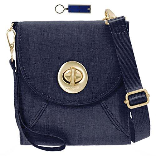 Bundle Purse Travel Key Light RFID Baggallini Wallet Chain Crossbody Handbag Navy Athens w v6pqY