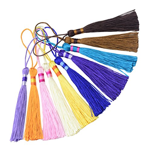 - 100pcs 5 Inch Silky Floss Bookmark Tassels with 2-Inch Cord Loop and Small Chinese Knot for Jewelry Making, Souvenir, Bookmarks, DIY Craft Accessory (Mixed10)