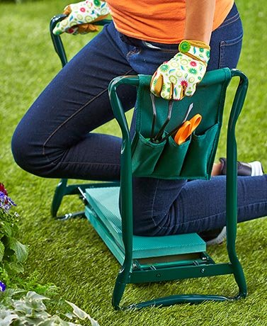 Garden Kneeling Bench With Handles and Tool Pouch