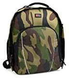 DURAGADGET Camouflage Water-Resistant Backpack with Customizable Interior & Raincover for The Zeiss VR One Plus