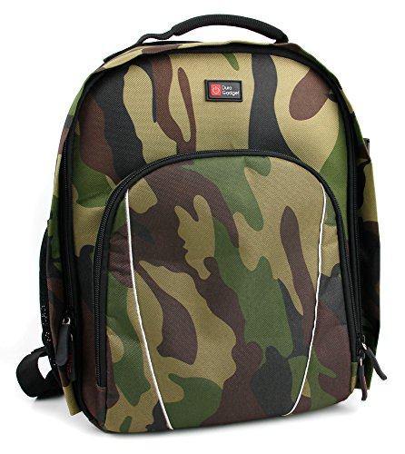 DURAGADGET Camouflage Water-Resistant Backpack with Customizable Interior & Raincover - Compatible with The Sulon Q VR Headset