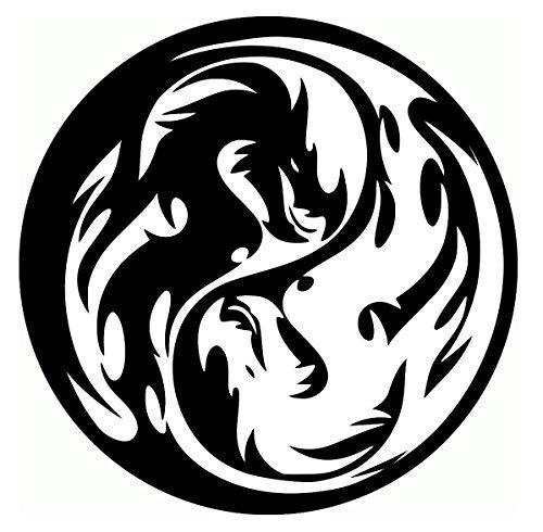 (UR Impressions MBlk Tribal Dragon Yin Yang Decal Vinyl Sticker Graphics Car Truck SUV Van Wall Window Laptop|Matte Black|5.5 Inch|URI408-MB)
