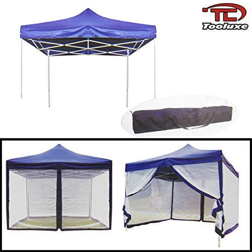 Tooluxe 10' x 10' Blue Folding Canopy With Mosquito Net by Tooluxe