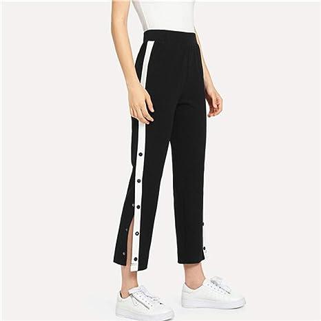 l'atteggiamento migliore 11731 3e5f3 NSKZ Pantaloni Donna Pantalone Abbottonato A Contrasto ...
