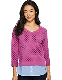 Womens Polka Dot French Terry and Woven Twofer Top