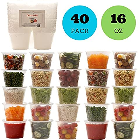 Reusable Food Storage Containers with Lids - Deli Cups - Great for Baby Food, Kids Lunch Boxes, Slime and General Storage - Airtight, Freezer, Microwave and Dishwasher Safe (16 ounces, 40 - 16 Ounce Plastic Containers