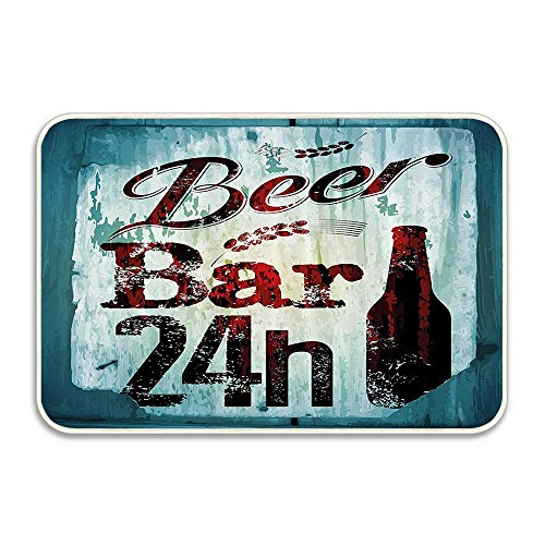 Carl McIsaacDoor Grunge Beer Bar 24h Figure Old Pub Sign Emblem Restaurant Graphic Design Doormat Perfect Color Sizing for Outdoor/Indoor Uses 16 X 24 Inch
