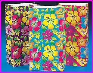 Fun Express Luau Party Supplies Hibiscus Paper Bags (12 -