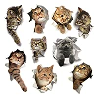 9PCS Animals Cute Cat Wall Emoji Sticker Living Room Bedroom Decoration Animal Wall Stickers Bathroom/Toilet/Refrigerator/Car/Nursery Room/PVC/Kitchen 3D Wall Decals