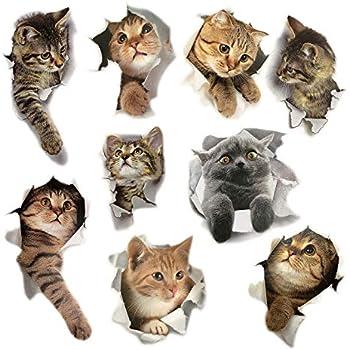 9PCS Animals Cute Cat Wall Emoji Sticker Living Room Bedroom Decoration Animal Wall Stickers Bathroom/Toilet/Refrigerator/Car/Nursery Room/PVC/Kitchen 3D ...
