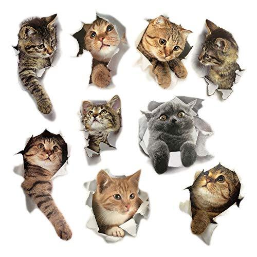 9PCS Animals Cute Cat Wall Emoji Sticker Living Room Bedroom Decoration Animal Wall Stickers Bathroom/Toilet/Refrigerator/Car/Nursery Room/PVC/Kitchen 3D Wall Decals