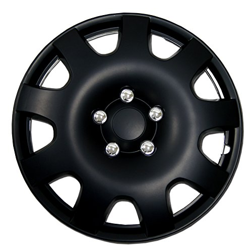 (TuningPros WSC-502B16 Hubcaps Wheel Skin Cover 16-Inches Matte Black Set of 4)