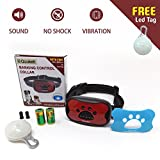 No Bark Collar By QOUKETT: Humane Dog Training Collar For Small & Medium Dogs | Pain-Free, Barking Control Device With No Shock Vibration & Sound | Ideal For Trainers & Pet Owners | FREE LED Tag