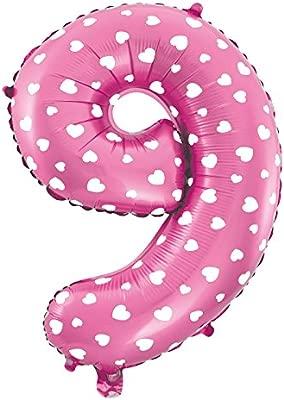 Globo de Número De Foil Color Rosa con Corazón para Fiestas ...