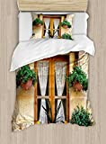 Ambesonne Shutters Duvet Cover Set Twin Size, Basket of Flowers Historic Building Window with Classic Lace Curtain Inside Image, Decorative 2 Piece Bedding Set with 1 Pillow Sham, Beige Green