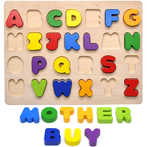 GYBBER&MUMU Alphabet Blocks Colorful Jigsaw Blocks Board Wood ABC Letters Puzzle - Version 2