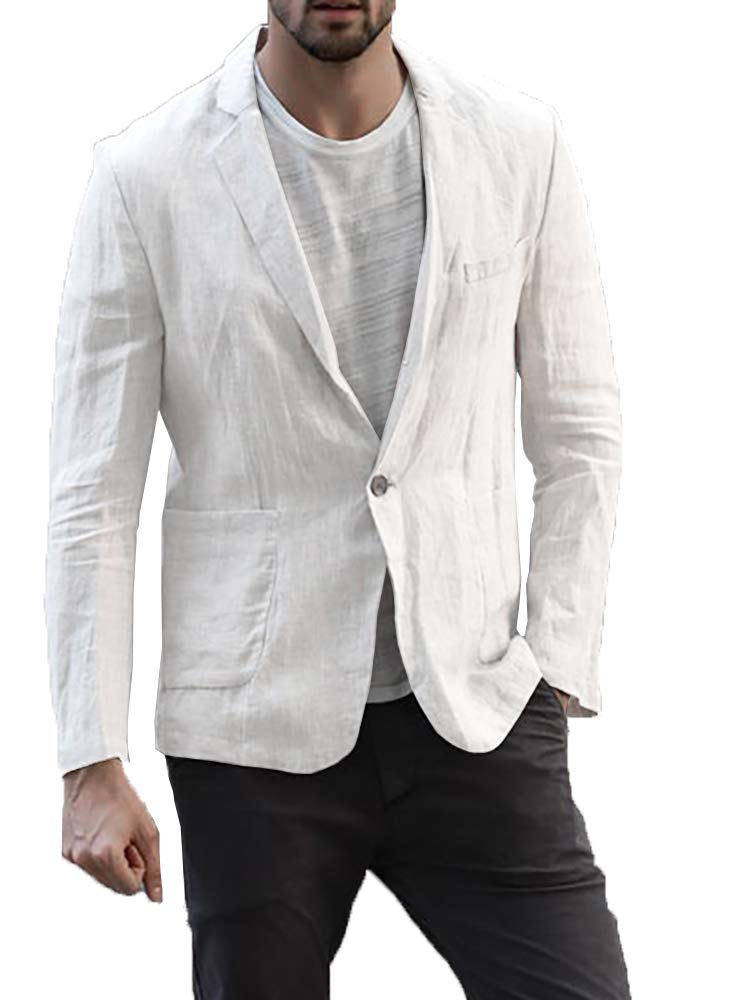 Enjoybuy Mens Linen Tailored Long Sleeve Blazer Casual Two-Button Suit Lightweight Jacket (Large, White)