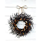 Mini Wreath-Halloween Wreath-Fall Wreath-Window Wreath-Black Candy Corn Wreath-Twig Wreath- Wreath, Farmhouse Decor, Fall Decor, Door Wreath, Housewarming Gift, Small Wreath, Wreaths