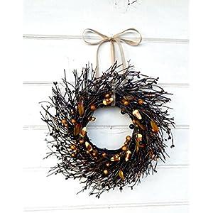 Mini Wreath-Halloween Wreath-Fall Wreath-Window Wreath-Black Candy Corn Wreath-Twig Wreath- Wreath, Farmhouse Decor, Fall Decor, Door Wreath, Housewarming Gift, Small Wreath, Wreaths 50